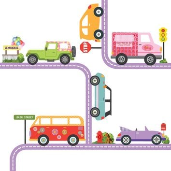 Colorful Girls Adventure Cars Wall Decals with Road Purple Straight and Curved
