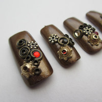 Handcrafted 3D Steampunk Nails (can be filed, range of sizes made to order).