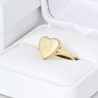 Fall Sale 10kt Yellow Gold Heart Ring - Monogram Gold Ring - Monogram Signet - Initial Jewelry - Personalized Ring - Monogram Heart
