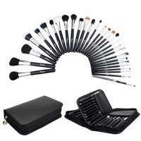 29pcs Professional Makeup Brush Set Black Cosmetic Brushes Kit (Color: Black) = 1843114116