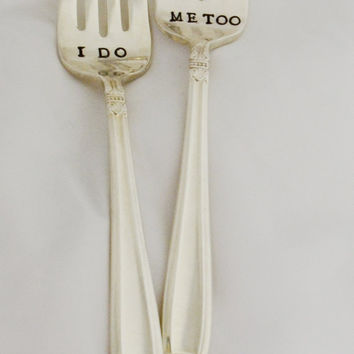 Mr. and Mrs. wedding forks. Hand stamped, wedding gifts, anniversary gifts.