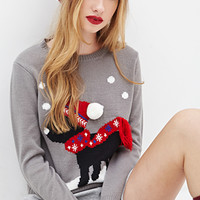 FOREVER 21 Puppy Holiday Sweater Grey/Multi
