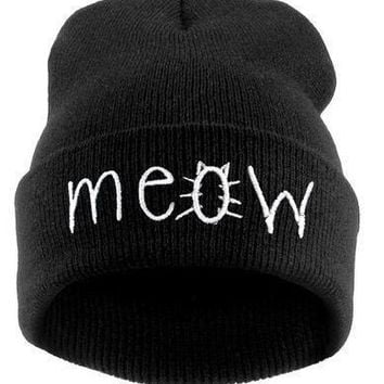 2014 New Beanies MEOW Hats Hip-Hop Cotton Knitted Hat Caps Casual Skullies Hip-hop London Men And Women = 1929635012