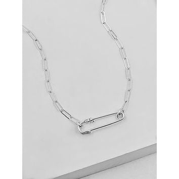 Paperclip Safety Pin Necklace - Silver