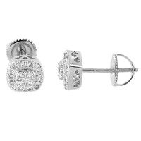 Prong Set Earrings Simulated Diamonds 14k White Gold Finish Screw Back Studs Mens Iced Out
