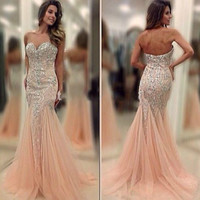 Sexy Bead Mermaid Evening Dress Formal Party Pageant Prom Celebrity Gown Custom