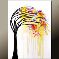 Abstract Landscape Canvas Art Painting 18x24 Original Contemporary Modern Tree Paintings  by Destiny Womack - dWo - When It Rains