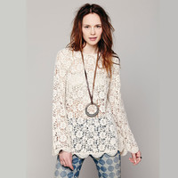 Hollow out long-sleeved lace shirt GG716GB – Larue Apparel