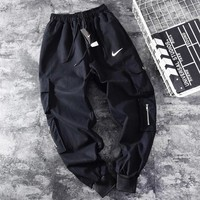 NIKE Fashion New Hook Print Sports Leisure Women Men Pants Black