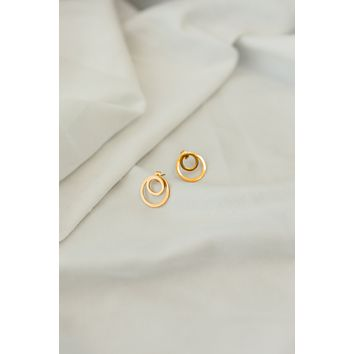 18K Double Circle Earring