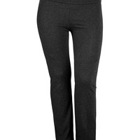 LE3NO Womens Plus Size Stretchy Fold Over Waist Full Length Yoga Pants (CLEARANCE)