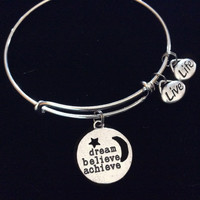 Dream Believe Achieve Live Life Silver Charm Bracelet Adjustable Wire Bangle Gift Trendy Stacking