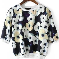 Black Floral Chiffon Crop Blouse