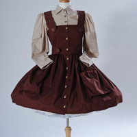 Steampunk Dress Military Gothic Lolita Brown Cotton Dress with Cargo Pockets and Gears Halloween Costume Custom Size including Plus Sizes