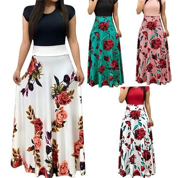 New Casual Maxi Dress Bohemian Print