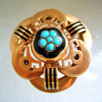 Antique 1860s Russian St. Petersburg Enamel 14k Gold Turquoise Brooch