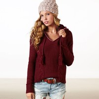 AEO Women's Cable Knit Sweater Hoodie (Burgundy)