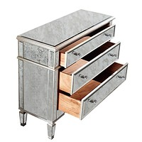 "Florentine 42""x16""x36"" Mirrored 3-Drawer Cabinet, Silver"
