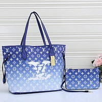 LV Louis Vuitton Women Fashion Leather Crossbody Satchel Shoulder Bag Two Piece Set