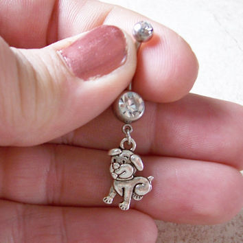 Belly Ring Puppy Dog Cute Navel Ring 14ga Surgical Steel