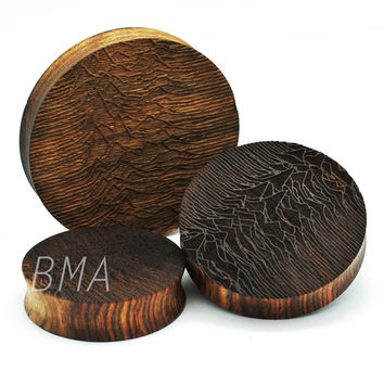 """Pulsar on Chechen Wood XL Plugs  (2""""-3"""") (51mm-73.5mm)"""