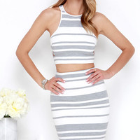 Sweet Soiree Ivory and Grey Striped Two-Piece Dress