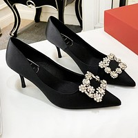 Bunchsun Roger Vivier New Popular Women Sexy Pointed Square Buckle Elegant High Heels Shoes