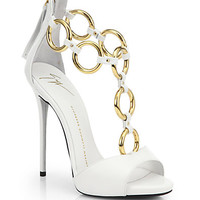 Leather Chain-Strap Sandals