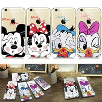 Cute Funny Minnie Mickey Mouse Transparent Case for coque iPhone 8 7 plus 6s 6plus 5 5SE Silicone Phone Cases Donald Daisy Duck