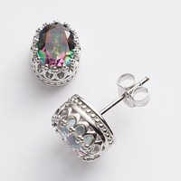 Sterling Silver Gemstone Oval Crown Stud Earrings