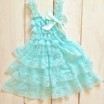 Turquoise Rustic girl dress, country chic, shabby lace chiffon girls dress, flower girl, bridal wedding, birthday, shabby vintage toddler