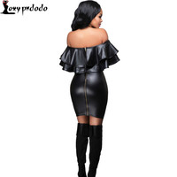 abiti pelle Sexy Autumn Women Leather Dress New Backless Bodycon Off Shoulder Dress Black Woman Flare dabuwawa Party Dress Robe