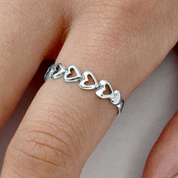 Sterling Silver Heart Eternity ring for Baby, Kids and Ladies size 2-9