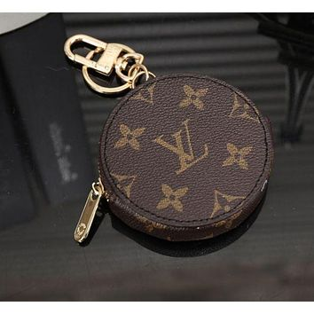LV Louis Vuitton Stylish Round Leather Key Pouch Wallet Coin Purse I