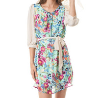Mint Floral Chic Summer Dress with Waist Tie