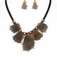 NECKLACE / NATURAL STONE / METAL SETTING / FAUX LEATHER STRAND / 16 INCH LONG / 1 3/4 INCH DROP / NICKEL AND LEAD COMPLIANT