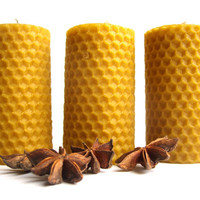 Set of 3 thick hand rolled 100% pure beeswax candles - Honey scented candles - Rolled pillar candle set - Gift wrapped - Eco friendly gift