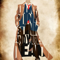 Doctor Who Print - David Tennant as the Tenth Doctor from Doctor Who TV Series - Minimalist Illustration Typography Art Print & Poster
