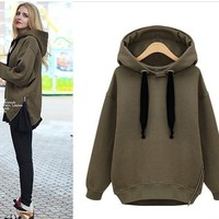 Relaxed temperament thick fleece hooded sweater BCCD
