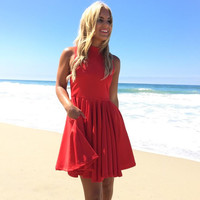 Charmed Life Skater Dress In Red
