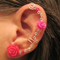 """Ear Cuff """"Roses are Hot Pink"""" Non Pierced Cartilage Conch Cuff Wedding Prom Quinceanera"""