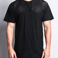 Mesh Block Extended Length T-Shirt