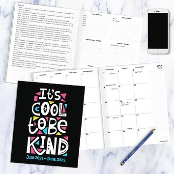 July 2021-June 2022 Be Kind Large Monthly Planner