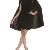 Black Bodycon Cape Dress by Charlotte Russe