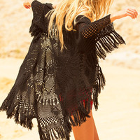 Mandala Crochet Coat - Black