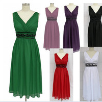 A-line V-neck Sleeveless Knee-length Chiffon Fashion Prom Dr esses/Wedding Dress/Cocktail Dress With Beading Free Shipping