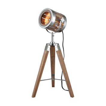 Pomeroy Studio Lamp - Antique Maple with Silver Accents 27-in H