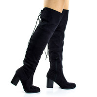 Aspen Black F-Suede Corset Lace Up Military Inspired Over Knee Boots w High Block Stack Heel
