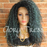 ON SALE // Big Kinky Curly Lace Front Wig, Ombre Teal Green Wig, Dark Rooted Wig, // NATURAL ( Free Shipping )