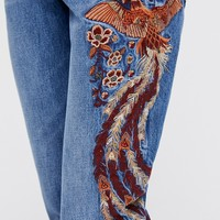 Free People Way Back When Embroidered Jean